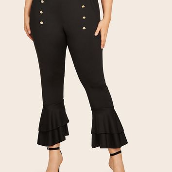 Plus Double Button Tiered Layer Flared Pants
