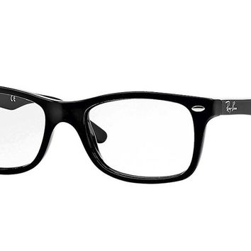 New Ray-Ban RX5228 Optical Eyeglasses, Shiny Black Frame, Clear 50mm Lenses