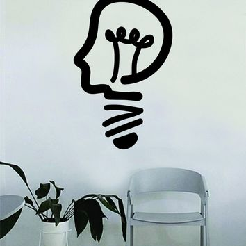 Lightbulb Head Quote Decal Sticker Wall Vinyl Art Home Room Decor Teacher School Classroom Science Work Office Job Smart Idea