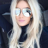 Shiny Metal Frame Split Mirror Sunglasses Aviation Luxury Brand Designer 2016 New Men or Women Sun glasses Shades Male Female