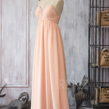 2016 Long Chiffon dress Bridesmaid dress with Straps, Peach Empire Wedding dress, Backless Prom dress, Blush Maxi dress floor length (F086)