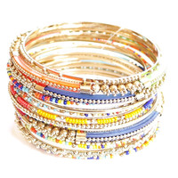 Faceted beaded multi color and layered bangle bracelets