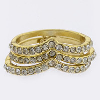 CRYSTAL PAVE CHEVRON DESIGN LINKED RINGS