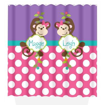 GIRL Monkey SHOWER CURTAIN Sister Bathroom Custom Name Personalized Monkeys Pink Purple Bathroom Bath Towel,  Bath Mat
