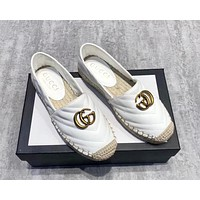 GUCCI 2019 new women's models wild woven thick-bottomed muffin bottom casual fisherman shoes white