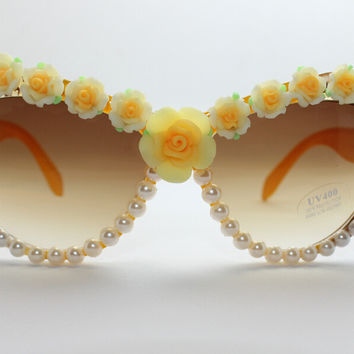 Handcrafts Cats Resin Floral Pearls Mirror Sunglasses [6047692481]
