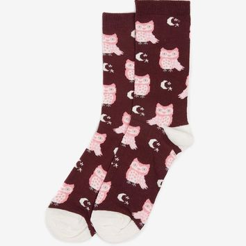 Burgundy Owl, Star and Moon Print Socks