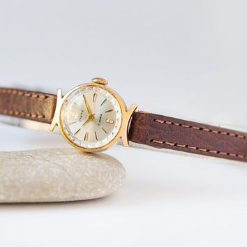 Vintage lady's watch Seagull gold plated, women cocktail wristwatch crescent trim case wedding gift tiny watch her premium leather strap new