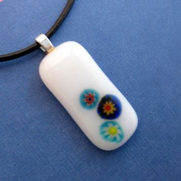 White Fused Glass Pendant and Necklace - One of a Kind - Silk Flowers by mysassyglass