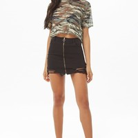 Zip-Front Denim Mini Skirt