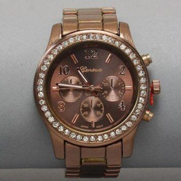 Geneva Platinum Luxury Chocolate Brown Clear Crystal Womens Mens watches Watch