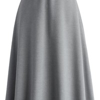 Classy Chic Wool-blend A-line Midi Skirt in Grey