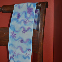 Purple and Blue Wave Silk Scarf