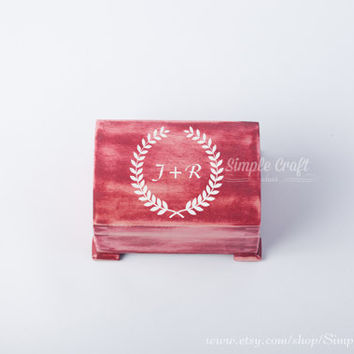Initials wooden box laurel wreath box customized wedding gifts personalized wooden box letter wooden box design typography customized gifts
