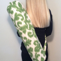 Handmade Yoga Mat Bag, Yoga Tote, Yoga Carrier, Mat Bag - Green Ikat with Shoulder Strap and Drawstring