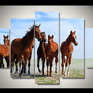 Free Range Horses Running 5-Piece Wall Art Canvas
