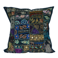 "16x16"" Black Stitched Old Sari Patchwork Cotton Pillow Cover on RoyalFurnish.com"
