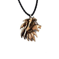 Lion Necklace, Mens Lion Necklace, Lion Pendant, Mens Lion Pendant, Wood Lion Necklace, Lion Jewelry, Mens Tribal Necklace, Tribal Jewelry