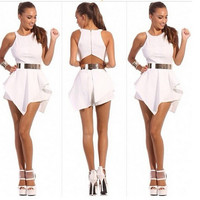 Irregular Sleeveless Solid Color Off Shoulder Romper Jumpsuit