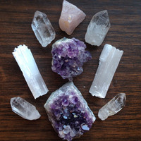 Large Crystal Collection Amethyst Crystal Healing Crystals and Stones Crystal Grid Set Alter Crystals Yoga Crystals Meditation Stones