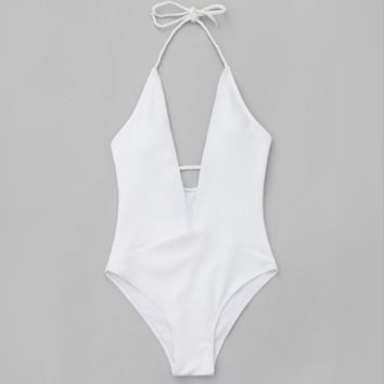 Summer new fashion solid color one piece bikini swimsuit White