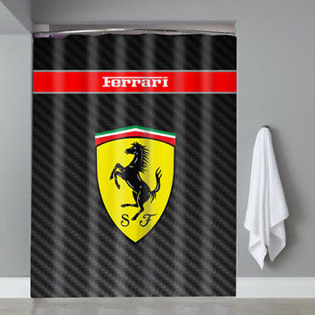 Hot Black Carbon Ferrari Sport Car Logo Custom Shower Curtain Limited Edition