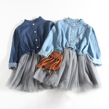 New 2017 Spring Autumn Baby Girl Dress Denim Mesh Patchwork Princess Girl Dress Long Sleeve Toddler Kids Dresses for Girls DQ612