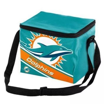 NFL Miami Dolphins Big Logo Striped 6 pack Cooler Lunch Box Bag Insulated
