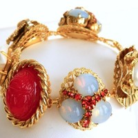 Recycled Jewelry Bracelet Made From Vintage Earrings, Handmade