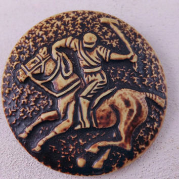 Celluloid Polo Player Button Vintage Buttons Old Plastic Collectible Buttons Sewing Notions Horse Jockey Sports Equestrian
