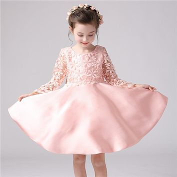Girls dress baby girl embroidered princess dress kids girls cotton ribbons dress