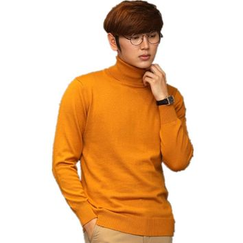 High Collar Male Knitted Cashmere Sweater