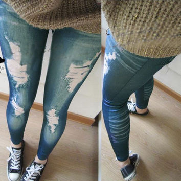 New NWT sexy Womens Ladies Vintage Jeans Distressed Legging Fake Hole Stretchy Girl Skinny Jeggings Blue