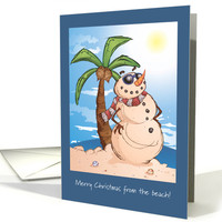 Merry Christmas From the Beach with Sand Snowman card
