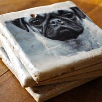 Pug Coaster on travertine tile (set of 4) with resin finish