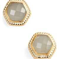 Anna Beck Grey Moonstone Hexagon Stud Earrings | Nordstrom