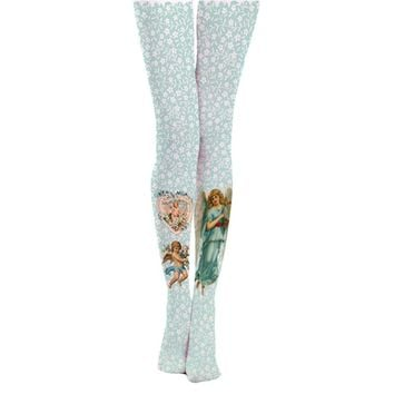 Princess sweet lolita European pastoral retro pattern angel girl printed silk 140D stockings personalized tattoos leggings LKW90