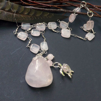 Rose Quartz Necklace, Fertility  Necklace,Handmade by Lyrisgems.