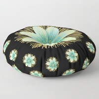 Gold Blue Black Flowers Floral Pattern Floor Pillow by inspiredimages