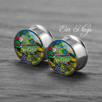 TMNT   Silver steel stain ear gauge,  tunnel  plugs,Stainless Steel Screw Ear Gauges, 2g, 0g, 00g,/16,1/2, 5/8,3/4