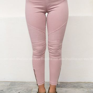 Pleated Zipper Skinny Jeggings | Blush