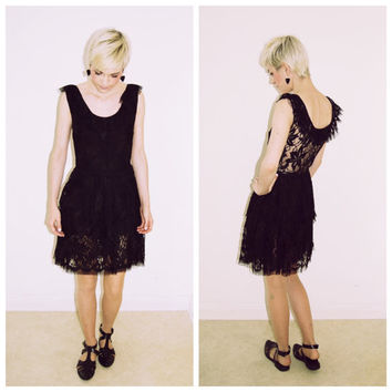 Vintage 70s 80s black LACE backless sheer back ruffle mini midi dress skirt ruffled layered skirt
