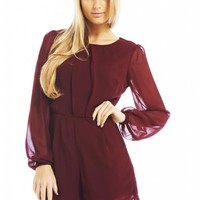 Burgundy Chiffon Long Sleeve Playsuit
