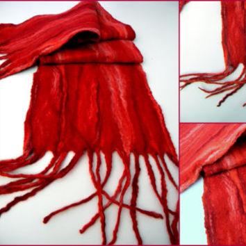Handmade double-sided wool felted scarf Women's scarf Flamenco  Winter scarf .Long scarf. merino wool.ready to ship 83/11inch with tassels