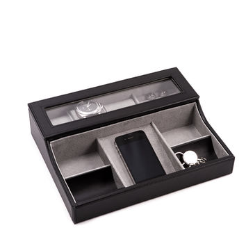 Black leather Valet Box for 3 Watches, Slots for Cufflink, Change and Phone Tray.