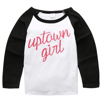 New Fashion Spring Autumn Kids Girls Long Sleeve  Cotton Letter T-Shirts Infant Toddler Baby Clothes Tops