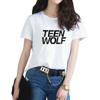 2017 New Teen Wolf Harajuku Women's T Shirts  Fashion Plus Size Casual Style Top Cute Letter T-Shirt  Female Clothes