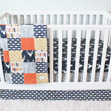 Woodlands Nursery Bedding, Navy Deer Crib Bedding Set, Orange, Mustard and Grey Baby Bedding, Teepees, Arrows, Deer Nursery