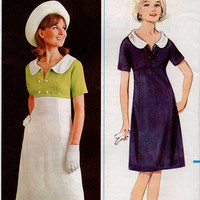 Butterick 60s Sewing Pattern Mod Retro Dress A-line Fitted Straight Skirt Casual Day Dress Colorblock Mini Dress Bust 32