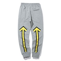 Off White Fashion New Letter Arrow Print Women Men High Quality Sports Leisure Pants Gray